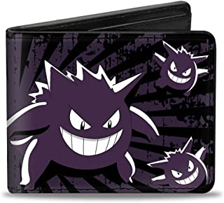Men's Wallet Gengar Scattered Poses/rays Weathered Black/purple/wh Accessory, -Multi, One Size