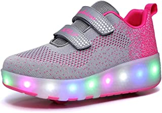 Roller Skates Shoes Girls Boys Double Roller Shoes Kids Outdoor Luminous Shoes for Kids