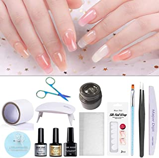 Destinely Nail Extension Gel Kit, Nail Extension Silk Fiberglass,Non-woven Silks Nail,Gel Builder Clear White Pink,for Gel Extension Nail Art Tools