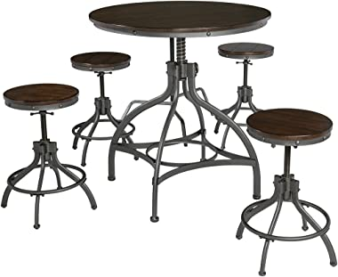 Ashley Furniture Signature Design - Odium Counter Height Dining Room Table and Bar Stools (Set of 5) - Brown