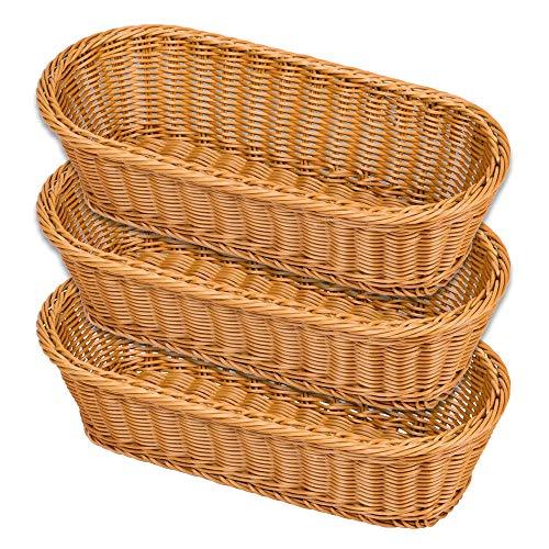 NACTECH Poly-Wicker Bread Basket Tabletop Food Fruit Vegetables Serving Baskets Restaurant Serving Bread Proofing Basket 3pcs