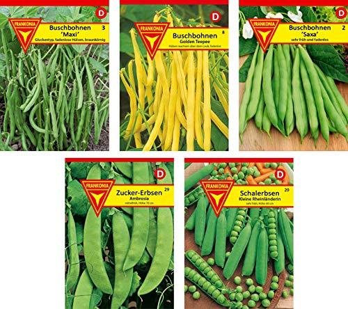 Frankonia-Samen / Hülsenfrüchte / Samen-Sortiment / 5 Sorten / Mix aus Buschbohnensorten und Erbsensorten