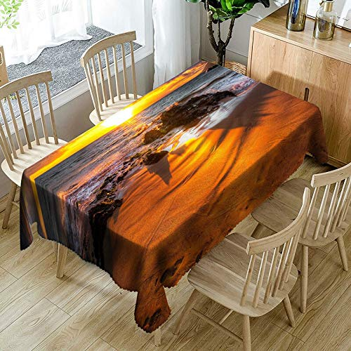 XXDD Mantel Impermeable con patrón de Paisaje Marino en 3D, Mantel Rectangular Grueso a Prueba de Polvo con Estrella de mar para Boda A5 140x180cm