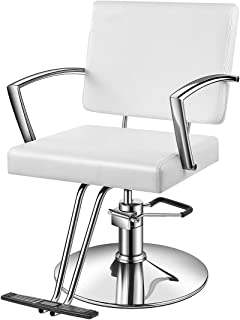 Baasha White Salon Chair, White Styling Chair with Hydraulic Pump, Footrest, Armrest, Thick Foam Seat & Headrest,Salon Chair White, Barber Chair, Styling Chair, Easy to Assemble