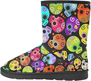 Artsadd Fashion Women's Shoes Colorful Cartoon Skull High Top Womens Snow Boots