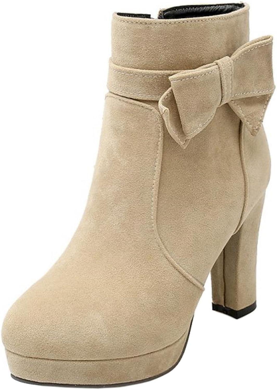 FANIMILA Women Sweet Bow Block Heel Ankle Boots With Zipper
