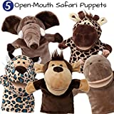 5-Piece Set Animal Hand Puppets / Zoo, Safari, Farm, Wildlife / Movable Open Mouth / Plush Pretend Toys / Monkey, Elephant, Giraffe, Hippo and Leopard