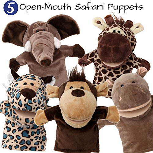 5-Piece Set Animal Hand Puppets / Zoo, Safari, Farm, Wildlife / Movable Open Mouth / Plush Pretend...