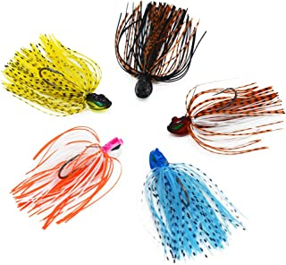 WSHAREG Bass Fishing Lures Kit,Ice Fishing Jigs and Rigs Set for Trout Crappie Walleye,Metal Lead-Head and Soft Plastic Skirts Swim Baits with Hooks for Freshwater and Saltwater (Value Pack of 5)