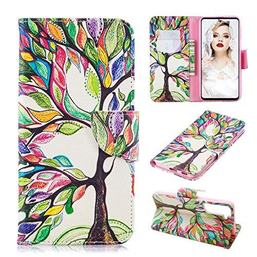 Funda para Samsung S21 – Samsung Galaxy S21 Funda de piel sintética para teléfono móvil con tapa y tarjetero S21, diseño de árbol multicolor