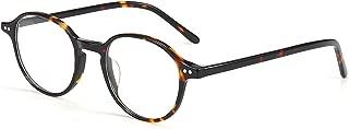 ZENOTTIC Blue Light Blocking Glasses Computer Glasses Handmade Acetate Frame Vintage Round Eyeglasses Anti Eyestrain for Men Women