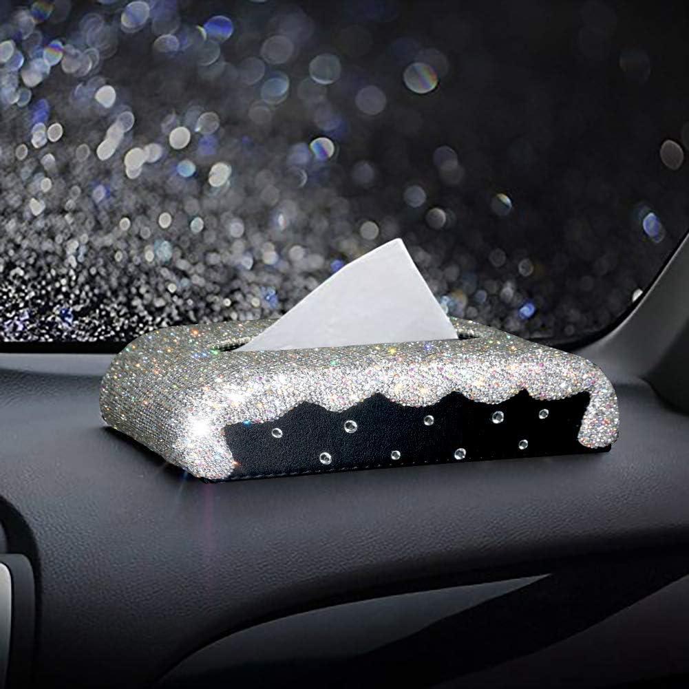 ギフ_包装 eing Luxury Tissue Box Cover Leather Crystal 品質検査済 Bling Diamonds with