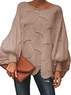 Msikiver Womens Oversized Pullover Sweater Batwing Sleeve Crochet Hollow Out Knit Jumper Cape