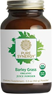 Pure Synergy USDA Organic Barley Grass Juice Powder (5.3 oz), 100% Made and Sourced in The USA, Non-GMO