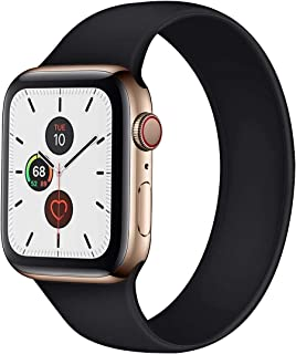Silicone Solo Loop Replacement Band for Apple Watch 44mm / 42mm | Elastic Bracelet | Premium Quality | (Medium, Black)