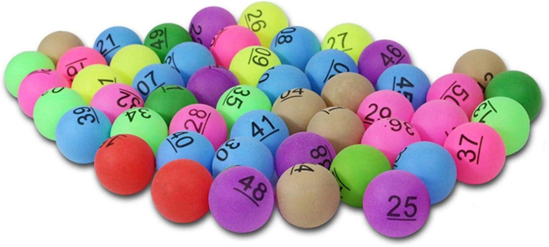 dfsda Pelota De Tenis De Mesa De Color, 50 Bolas De Ping Pong De Entretenimiento Colorido con Número, Pelota De Tenis De Mesa De Plástico Lavable para Niños, Decoración De Carnaval, Juegos Divertidos
