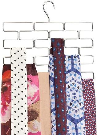 Percha organizadora de pantalones con 8 aberturas en alambre de metal Organizador de accesorios para armario etc leggins blanco mDesign Compacta percha para pantalones de yoga