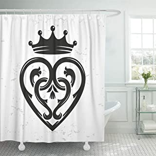 Emvency Decorative Shower Curtain Luckenbooth Brooch Vintage Scottish Heart Shape Crown Symbol Valentine Day 72