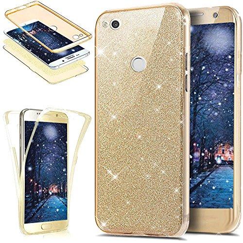 Kompatibel mit Huawei P8 Lite 2017 Hülle,Full-Body 360 Grad Bling Glänzend Glitzer Klar Durchsichtige TPU Silikon Hülle Handyhülle Tasche Case Front Back Cover Schutzhülle für Huawei P8 Lite 2017,Gold