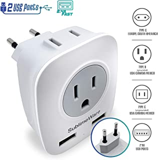 European Power Adapter w/ 2 USB Ports & 2 AC Outlets - USA to EU Outlet Plug - US to Europe Plug Adapter - Electrical Charger Travel Adapters for Europe from UK China - for Type F, E, C Charging