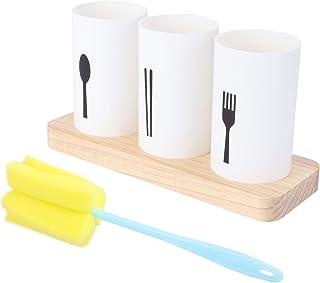 YARNOW Silverware Caddy Kitchen Utensil Holder Flatware Caddy Cutlery Organizer with Wooden Tray Bottle Sponge Cleaner for...