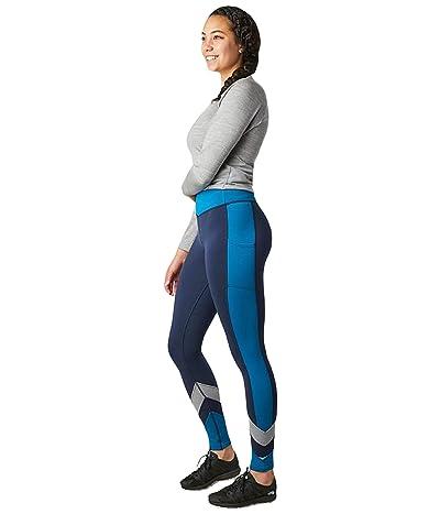 Smartwool Merino Sport Fleece Color-Block Tights (Deep Navy) Women