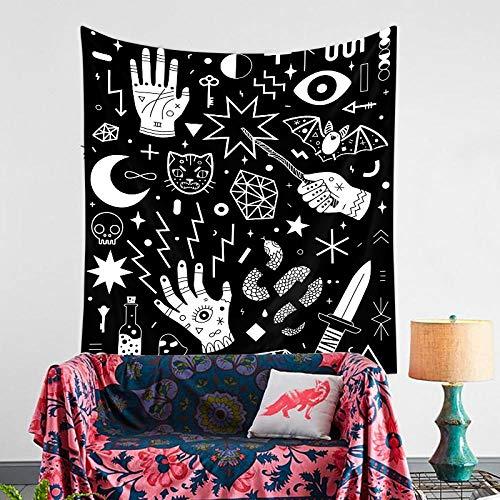 AdoDecor Tapiz Creativo Blanco y Negro Bohemio, Dormitorio Rectangular, Estrella de la Luna Bohemia, decoración del hogar, decoración de Fondo, Colgante de Pared, 60x68 Pulgadas