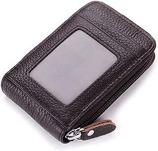 imeetu Men Leather Credit Card Case Holder Zip-Around Small Accordion Wallet