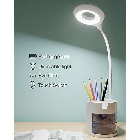 Lampe de Bureau LED, Hepside Lampe de Bureau Enfant Dimmable 3 Niveaux de Luminosité Protection des Yeux Col de Cygne Contrôle Tactile Lampe de Bureau Sans Fil USB Recharge, Porte Stylo Téléphone
