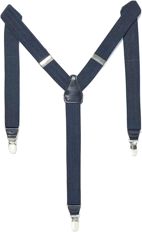 New Zara Men's Herringbone Suspenders, Navy Blue, M