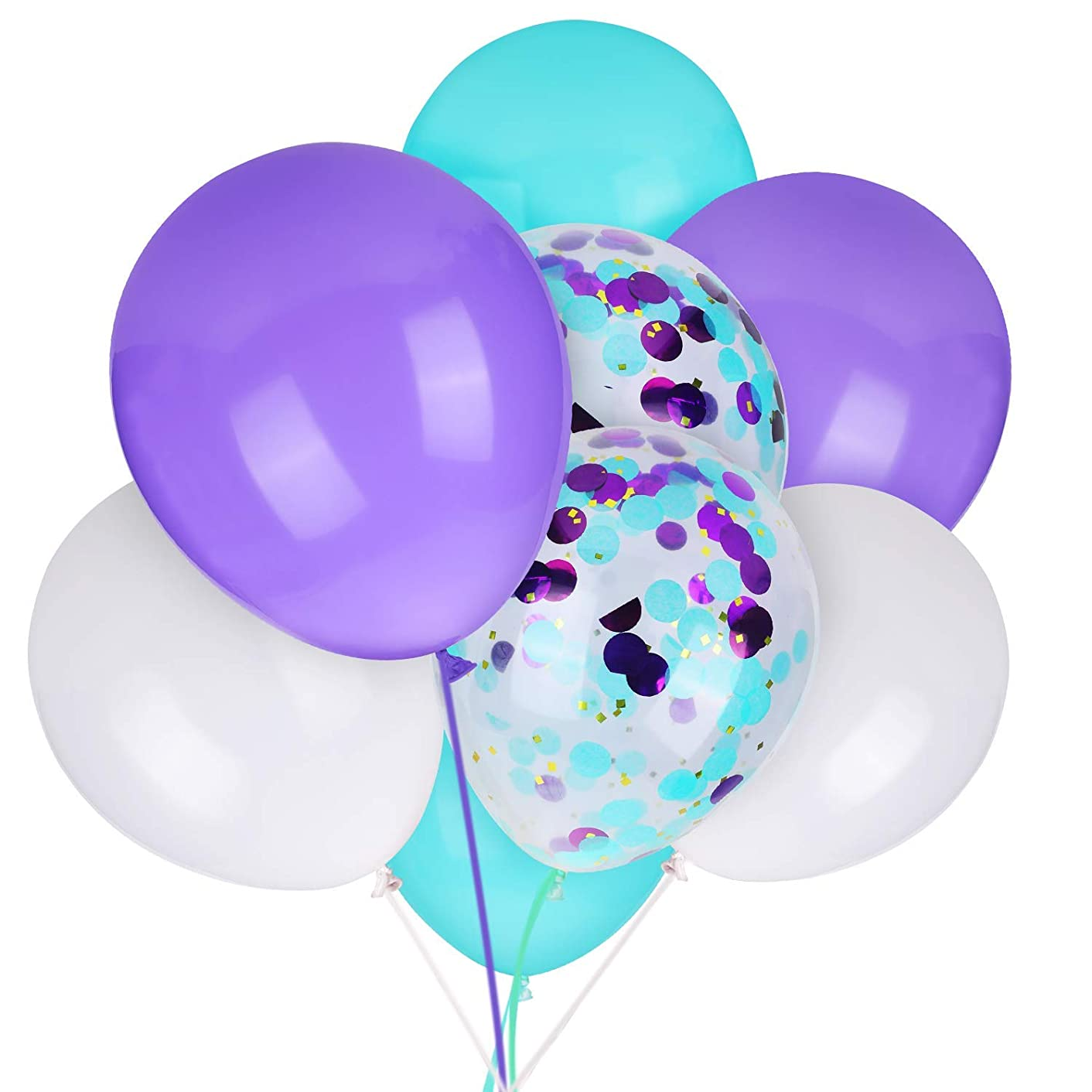 Mermaid Balloons Light Purple White Seafoam Blue for Mermaid Party Suppllies 12 inches Latex Balloon and Confetti Balloon for Baby Shower Under the Sea Party Mermaid Birthday Party Decorations 40 Pack
