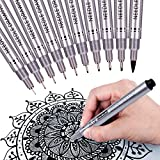 MISULOVE Precision Micro-Line Ultra Fine Point Ink Pens - Black Fineliner Pens - Archival Ink - Multiliner Permanent Markers for Artist Illustration, Drawing, Writing, Anime and Taking Notes, 10/Size