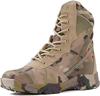 ZGF Brechton Hommes Haut-Top Bottes Entraînement Noir Respirant Combat Bottes Chaussures de sécurité Bottes Lumière Chauss...