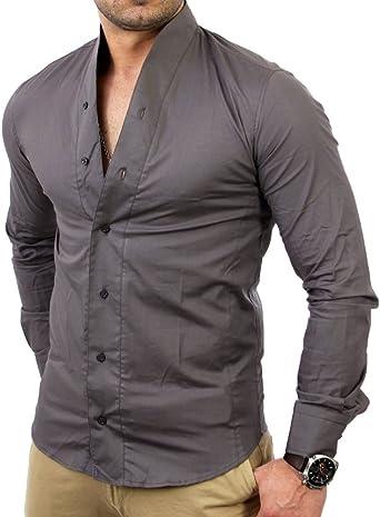 Tazzio TZ9005 - Camisa para hombre, color gris oscuro gris ...