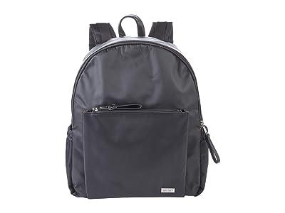San Diego Hat Company Nylon Backpack w/ Padded Laptop Pocket Straps, Zip Pockets Locker Loop (Black) Backpack Bags