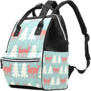 Diaper Bag Multi-Function Waterproof Travel Backpack Nappy Bags for Baby Care with Reindeers and Pine Trees