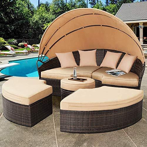 Melko Sonneninsel mit Dach Gartenmuschel Polyrattan Sonnenliege Rattanmöbel Gartenliege