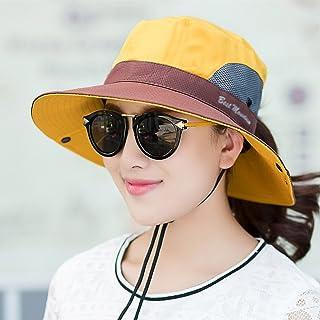 AINIYF Women's Sun Hat Outdoor Baseball Sports Hat Summer Sun Cap Foldable Detachable, Defense Wind Rope (Color : Yellow)