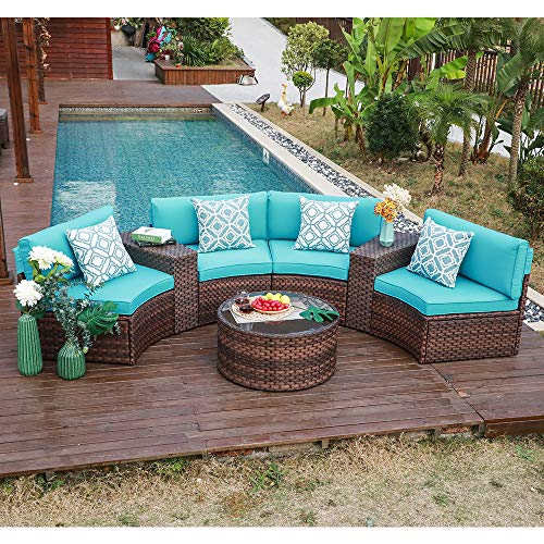 OC Orange-Casual Outdoor Furniture Set Half-Moon Patio All-Weather Wicker Sofa with Coffee Table, Brown Rattan Turquoise Cushion 7-Piece (Pillows Included)