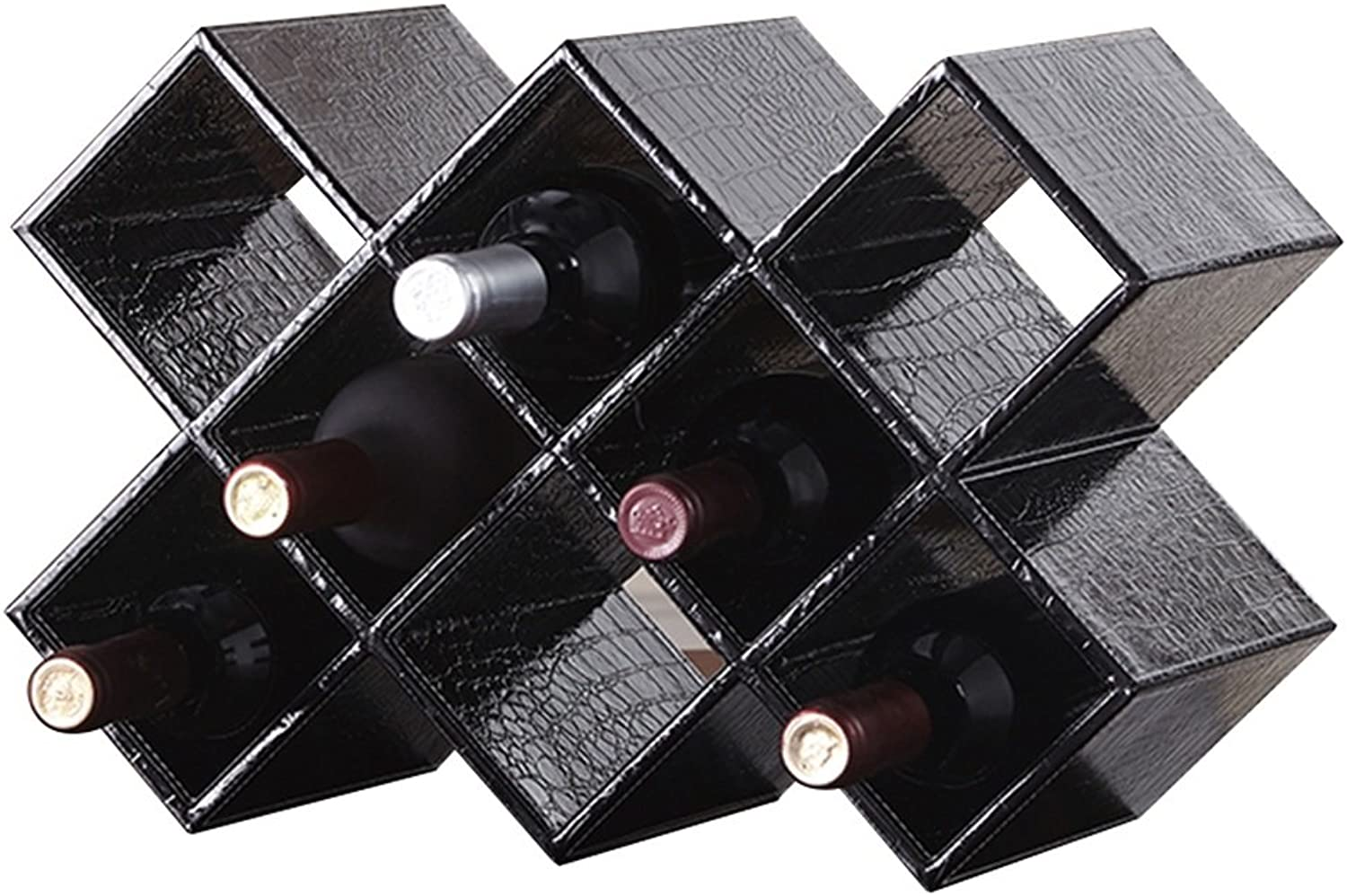 Wood Wine Rack Free Standing Wine Cabinet Wine Bottle Holder Decorative Shelves Beautiful and Durable (Size 41.5  20  28cm) (color   Black)