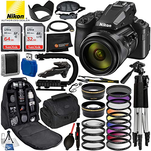 Nikon COOLPIX P950 83x Optical Zoom Digital Camera with Built-in Wi-Fi & Ultimate 96GB Accessory Bundle – Includes: 2X SanDisk Ultra Memory Cards + Wide Angle & Telephoto Lens Attachments + Much More