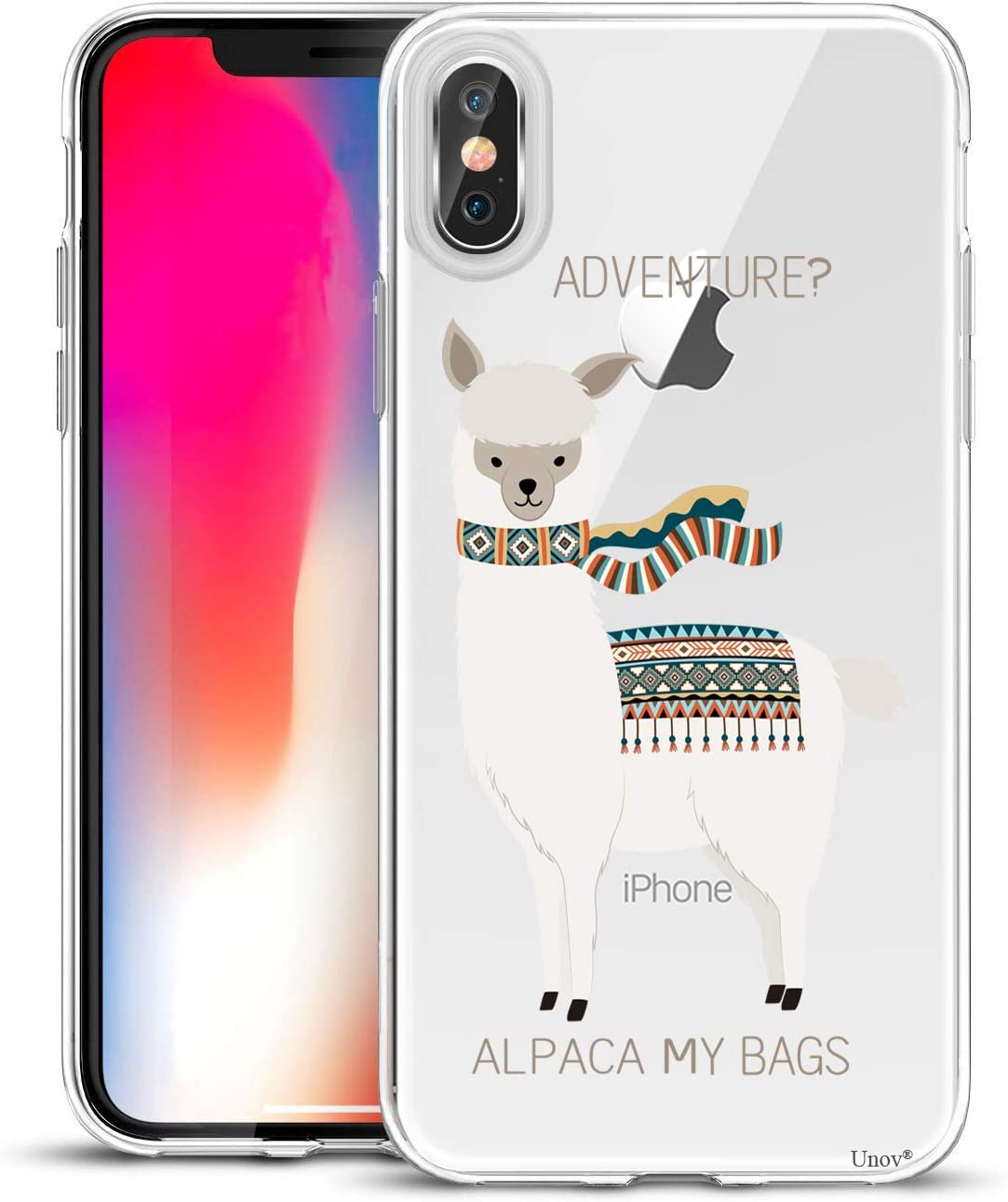 Unov Case Compatible with iPhone Xs Max Case Clear with Design Slim Protective Soft TPU Bumper Embossed Pattern Protective 6.5 Inch (Alpaca Bags)