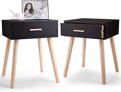 911e2378339 LAZYMOON Set of 2 Bedside End Table Nightstand Storage Organizer w Drawer   Solid  Legs