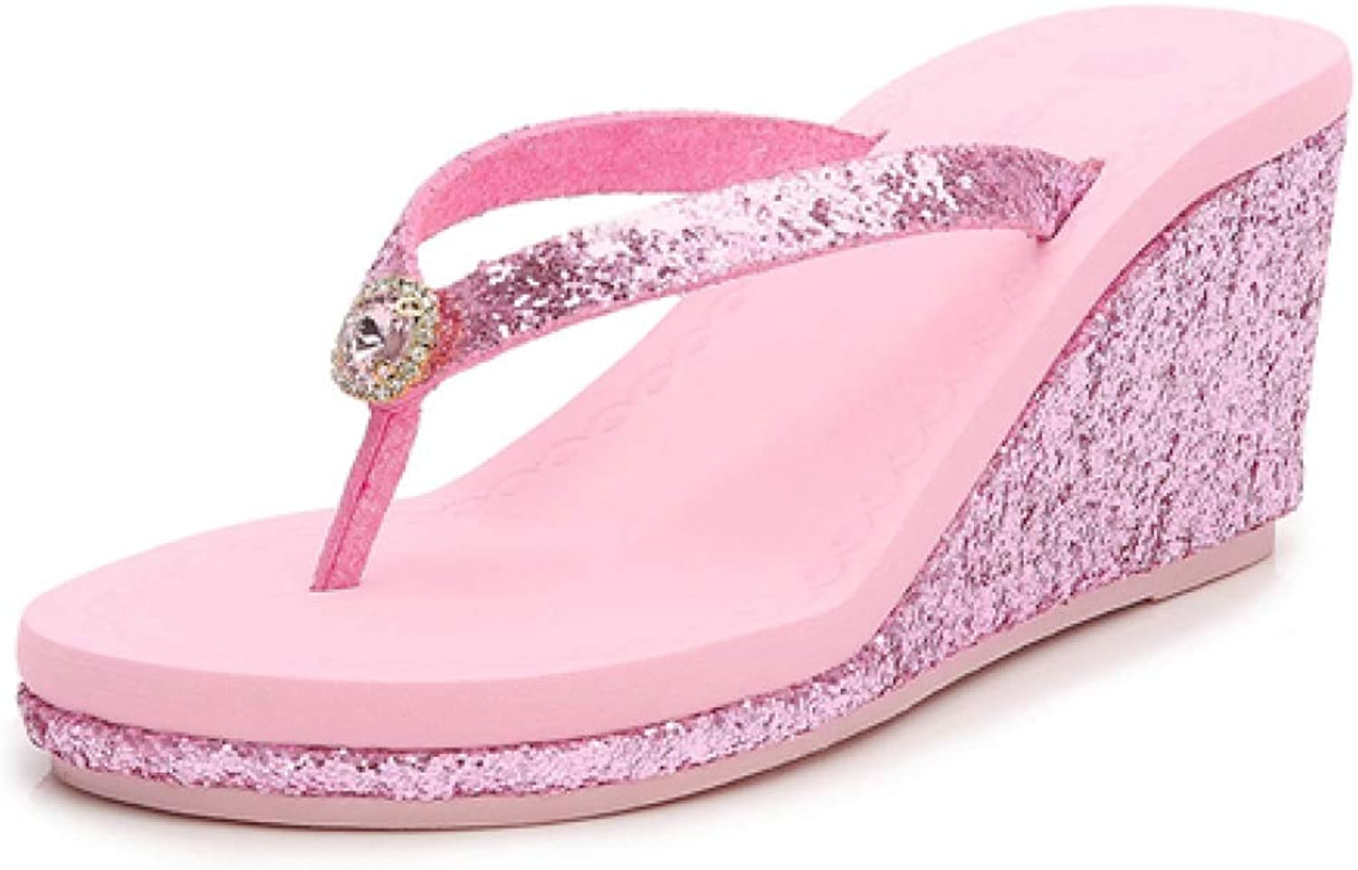 T-JULY Womens Sequins Diamonds Beach Flip Flops Ladies Non-Slip Wedges High Heels Slippers Summer