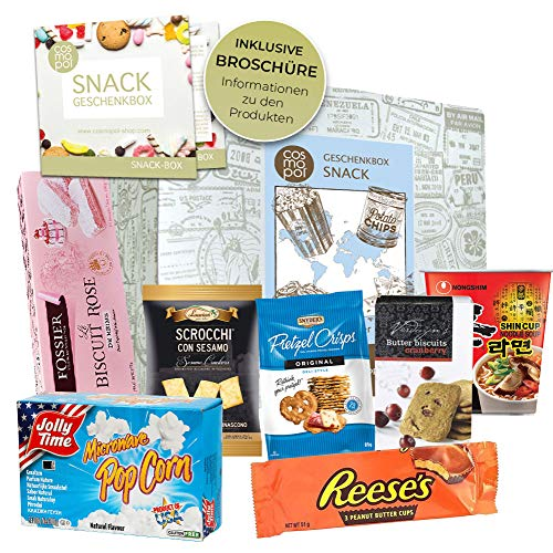 Geschenk Set Snack Box | Geschenkset Für Naschkatzen Männer Frauen | Snacks Und Süßigkeiten Aus Aller Welt | Besondere Geschenkidee I Probierset