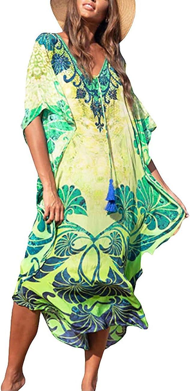 Women's Swimwear Turkish Kaftans Floral Print Swimsuit Cover up Caftan Beach Maxi Long Dress