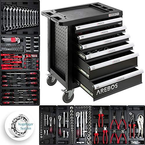 Werkzeugwagen Werkstattwagen gefüllt Werkzeugschrank Arebos (4 Schubladen)