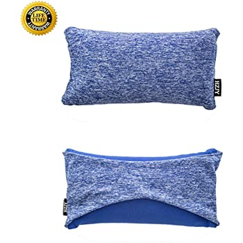 HZJOYUE Travel Pillow-2 in 1 Compact Travel Pillow and Eye Mask Comfortably Supports The Head, Neck and Chin-Best Pillow for Airplane, Bus, Train, Car or Outdoor Travel, Camping,Hiking