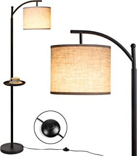 Wowatt Lampadaire sur Pied Salon avec Étagère & 9W E27 LED Ampoule, Lampadaire Arc Classique Vintage, Abat Jour Pivotant, ...