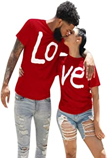 Sylar Pack de 2 Camisetas Rojo para Parejas Originales Verano Camisetas de Manga Corta con impresión de Letras Camisetas B...